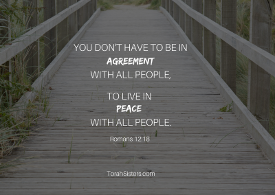 You don't have to be in agreementwith all peopleto live in peacewith all people.